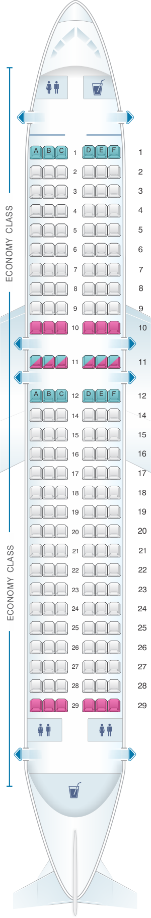 Seat map for Scandinavian Airlines (SAS) Airbus A320