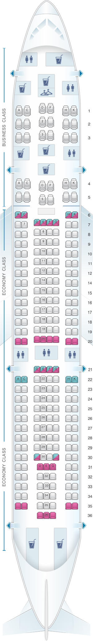 Seat map for Avianca Airbus A330