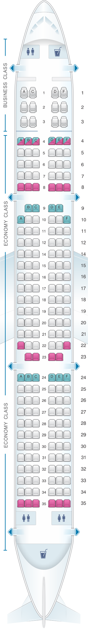 Seat map for Avianca Airbus A321