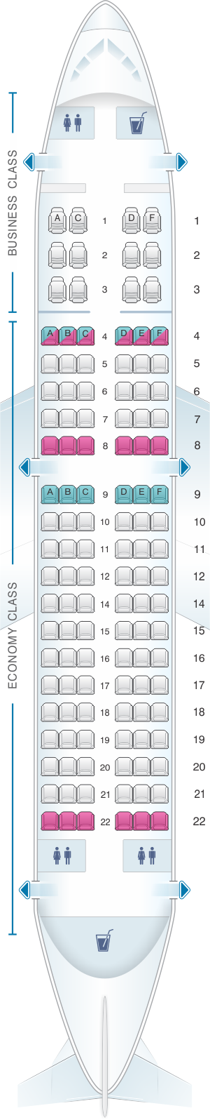 Seat map for Avianca Airbus A319