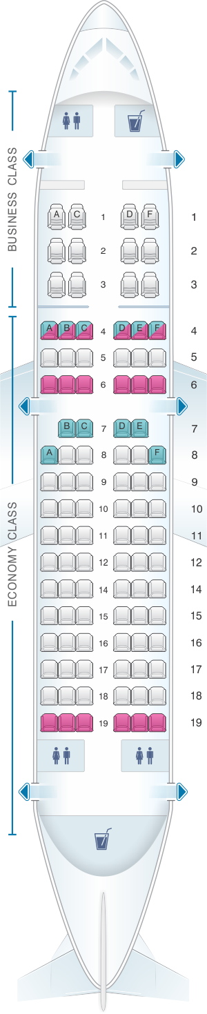 Seat map for Avianca Airbus A318