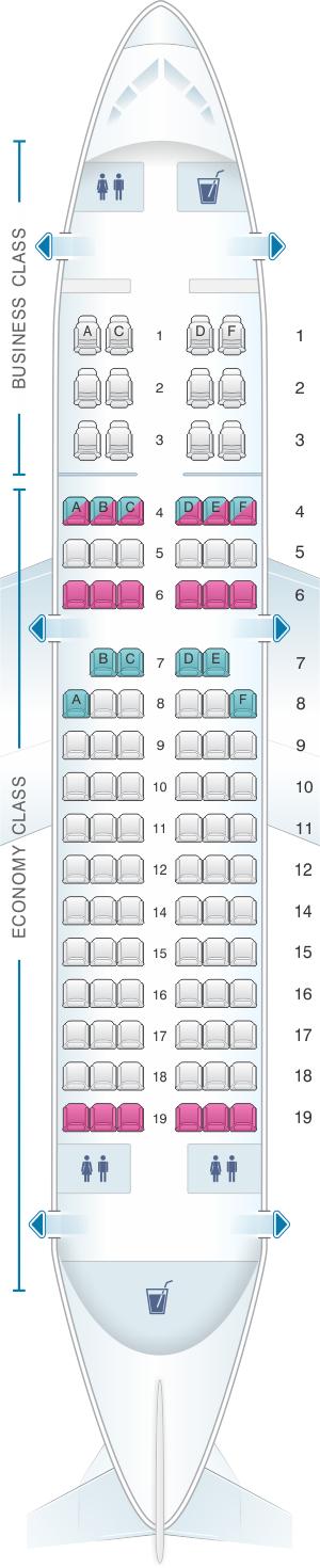 Seat Map Avianca Airbus A318 | SeatMaestro
