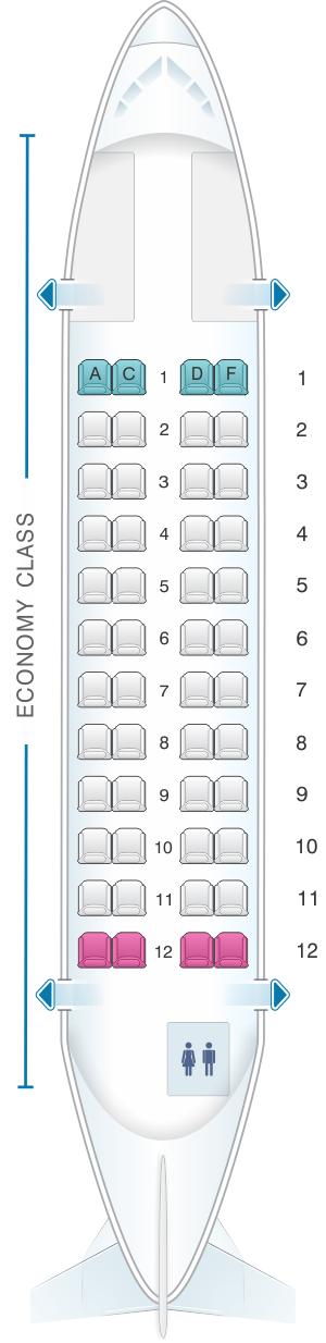 Seat map for Avianca ATR-42