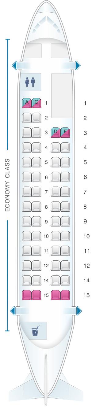 Seat map for Avianca Fokker 50