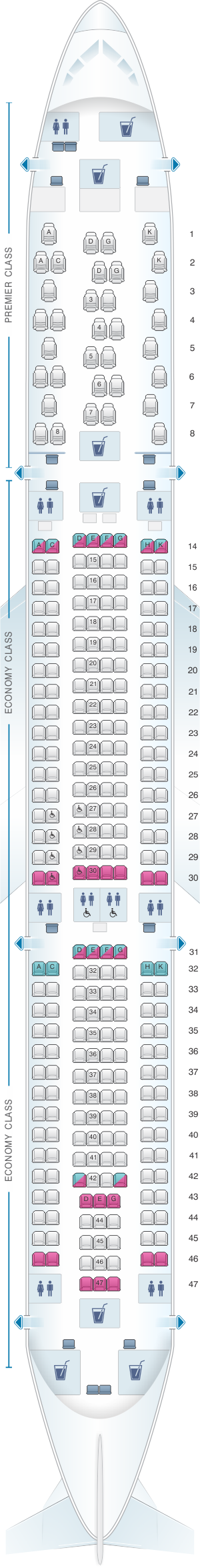 Seat map for Jet Airways Airbus A330 300 293PAX