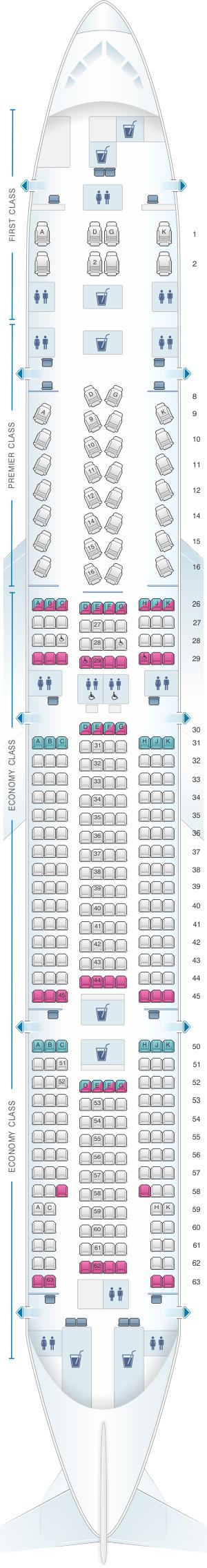 Seat map for Jet Airways Boeing B777 300ER 346PAX