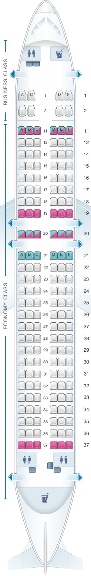 Seat map for Kingfisher Airlines Airbus A320 200 164PAX(A)