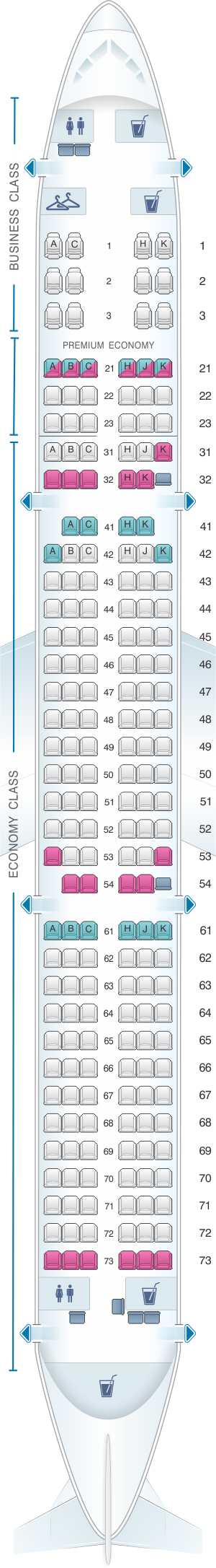 Seat map for Philippine Airlines Airbus A321 200ceo