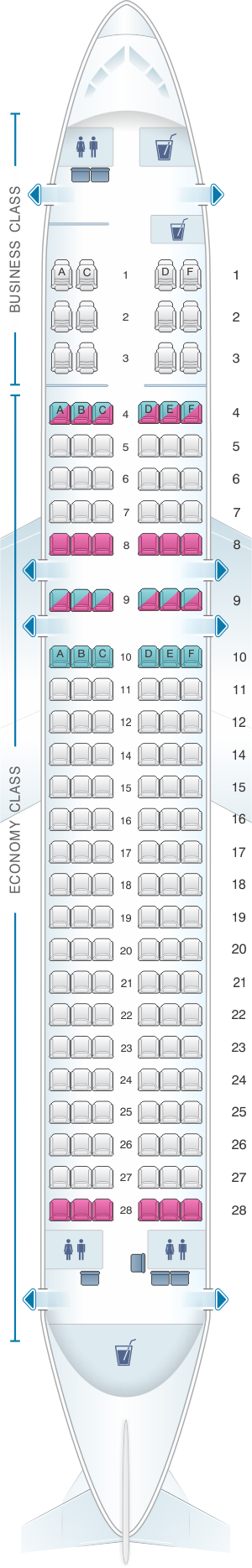 Seat map for Philippine Airlines Airbus A320 200 V2