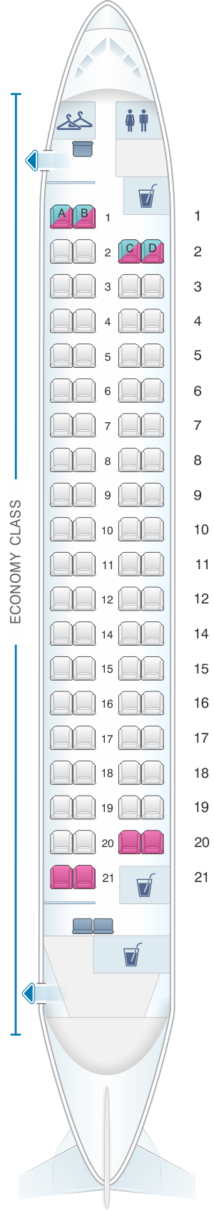 Seat map for Philippine Airlines Bombardier Q400 all economy