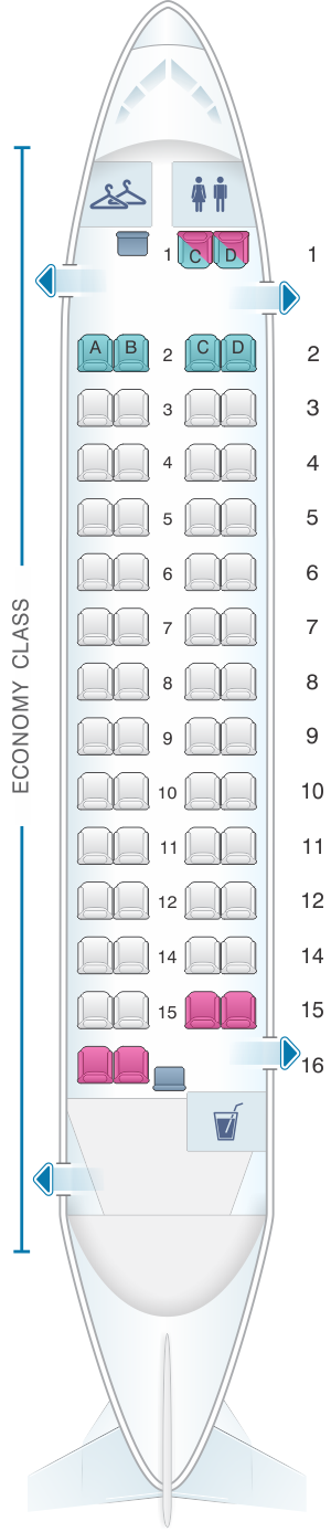 Seat map for Philippine Airlines Bombardier Q300