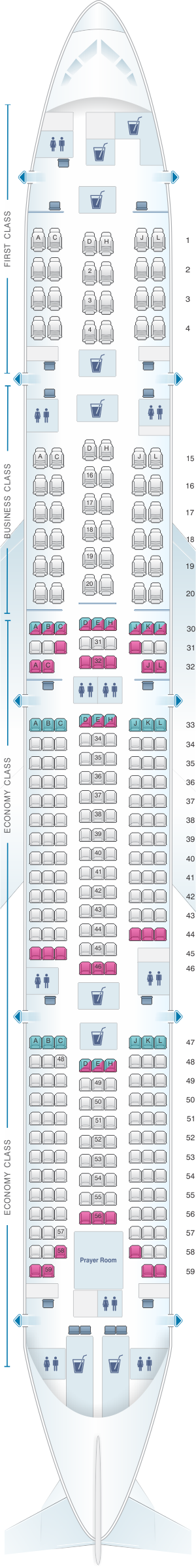 How do you find a seating chart for the Boeing 77W?