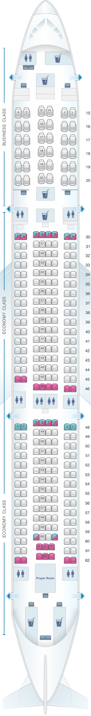 Seat map for Saudi Arabian Airlines Airbus A330 300 (33D)