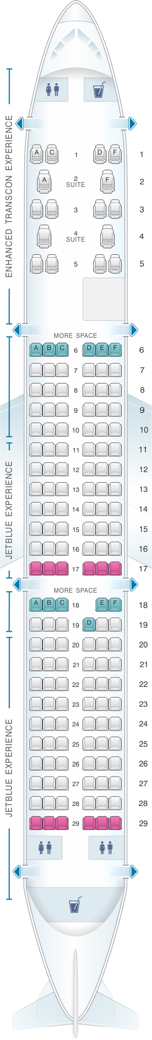 Seat Map JetBlue Airways Airbus A321 Config 2 ...