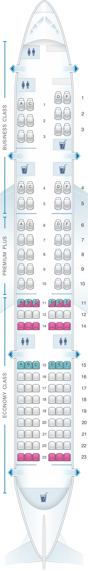 Seat map for OpenSkies Boeing B757 200 112PAX