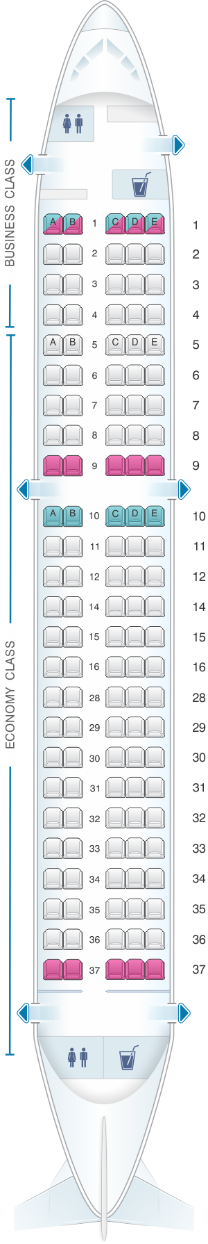 Seat map for SWISS Bombardier CS100