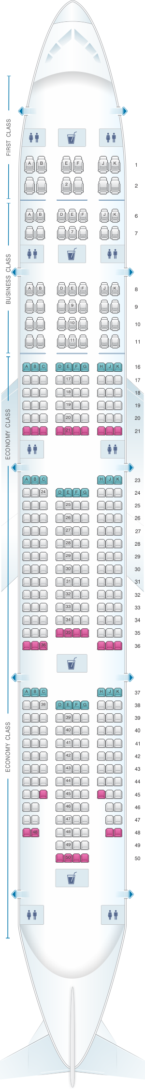 Seat map for Emirates Boeing B777 300ER three class