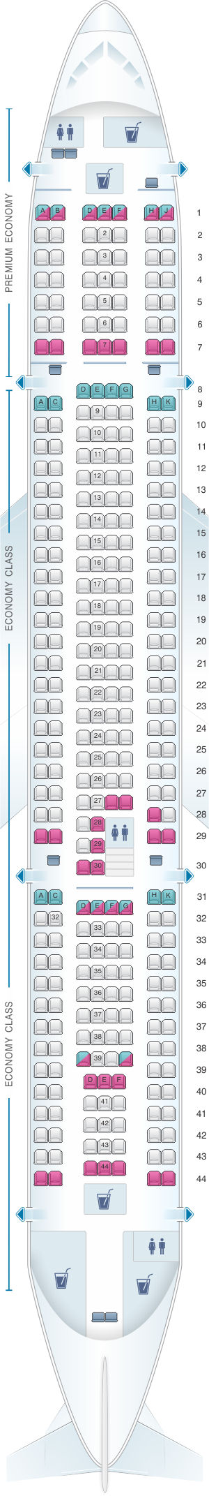 Seat map for Thomas Cook Airlines Airbus A330 200