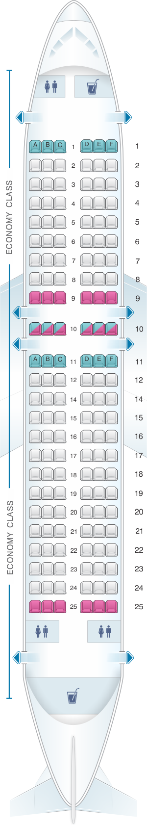 Seat map for Vueling Airbus A319