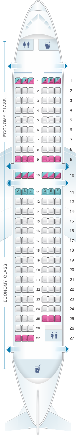 Seat map for VIM Airlines Airbus A319