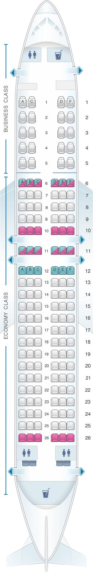 Seat map for White Airways Boeing B737 800