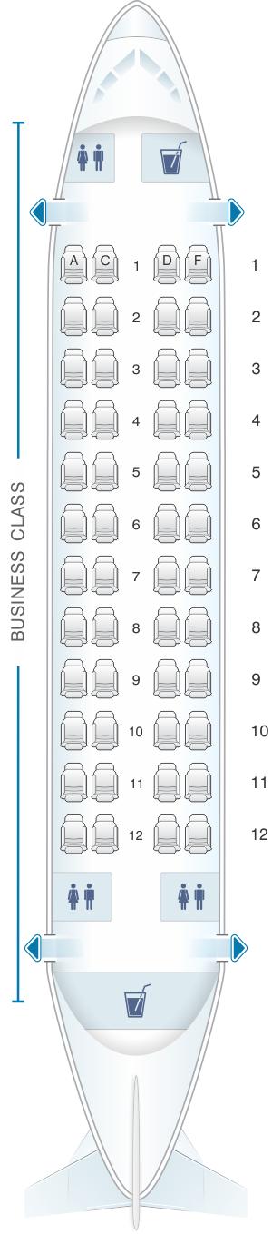 Seat map for White Airways Airbus A319 CS TFU night configuration