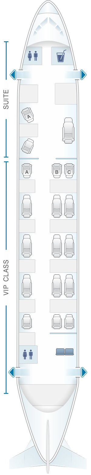 Seat map for White Airways Airbus A319 CS TLU night configuration