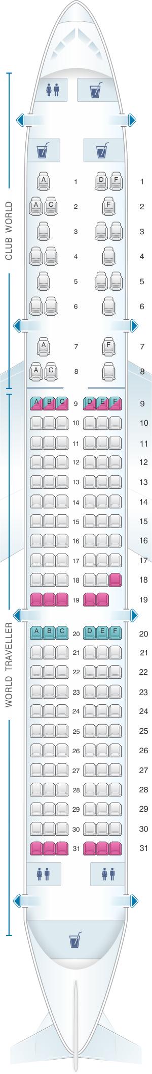 Seat map for British Airways Airbus A321 Worldwide
