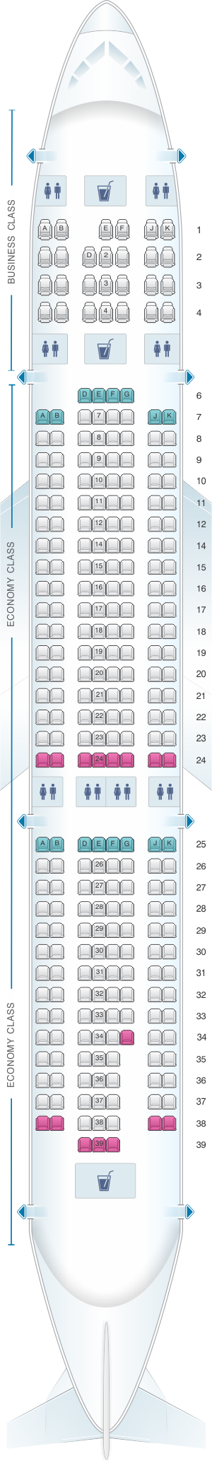 seat map emirates airbus a330 200 two class seatmaestro
