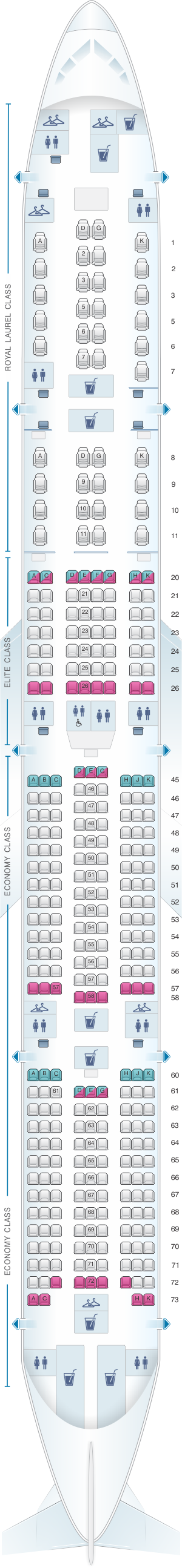 Seat map for EVA Air Boeing B777 300ER 333PAX