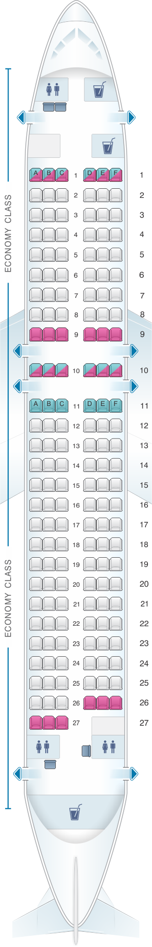 Seat map for Finnair Airbus A320