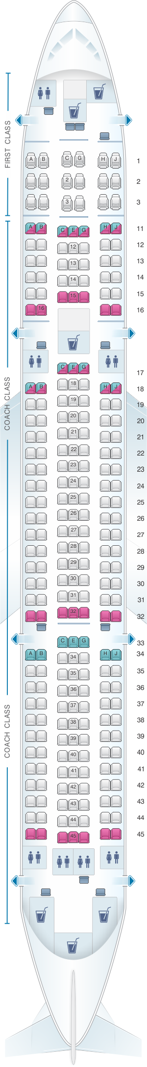 Seat map for Hawaiian Airlines Boeing B767 300 ER