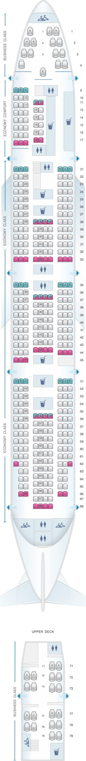 Seat map klm boeing b747 400 new world business class for Plan de cabine boeing 747 400 corsair