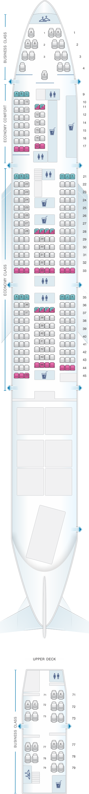 Seat map for KLM Boeing B747 400 Combi New World Business Class