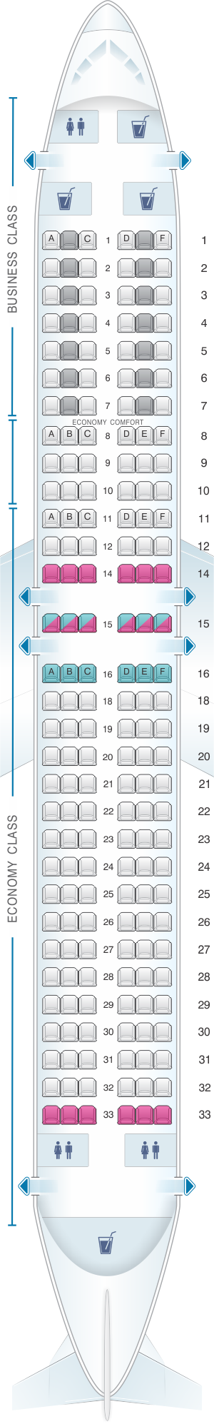 Seat map for KLM Boeing B737 900
