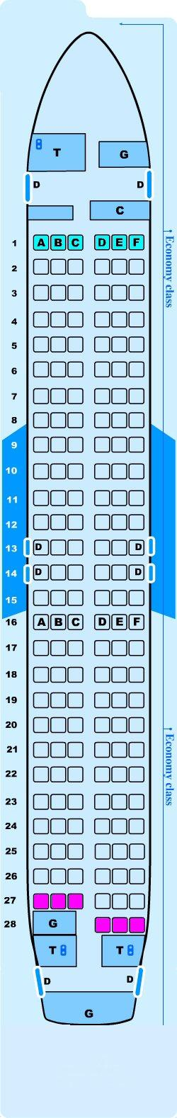 Seat map for Lauda Air Airbus A320 214