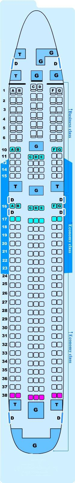 Seat map for Lauda Air Boeing B767 300 ER