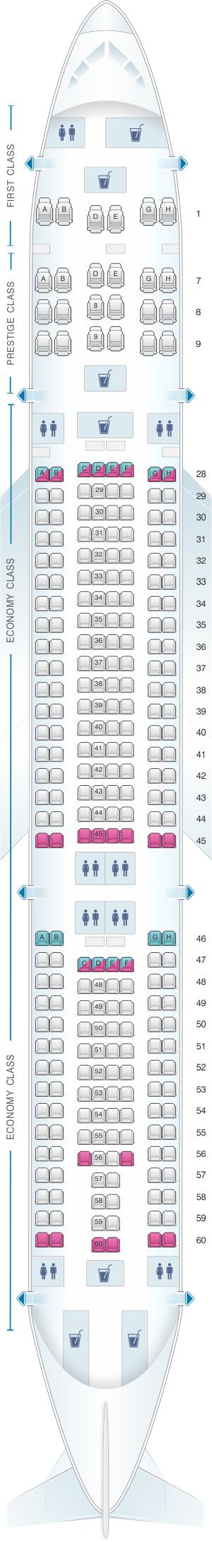 Seat map for Korean Air Airbus A330 300 276PAX