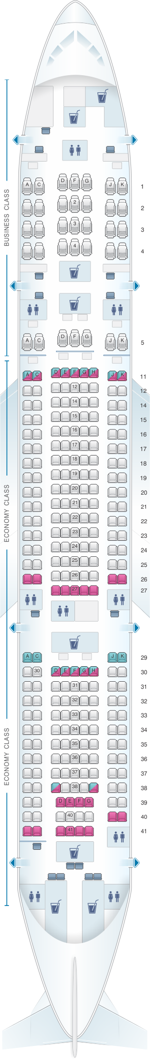 Seat Map Malaysia Airlines Boeing B777 200 Seatmaestro