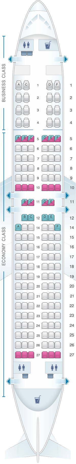 Seat map for Malaysia Airlines Boeing B737 400