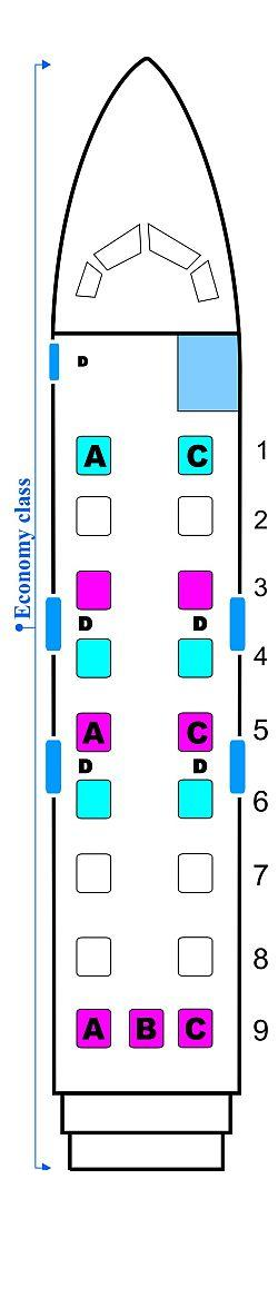 Seat map for Midwest Airlines Beechcraft 1900D
