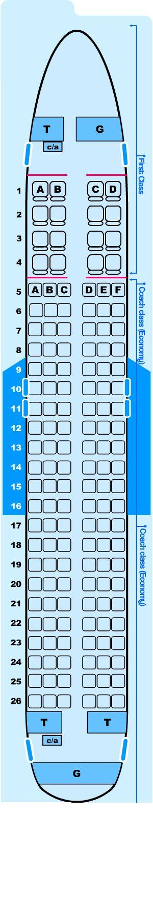 Seat map for Northwest Airlines Airbus A320 200 Domestic
