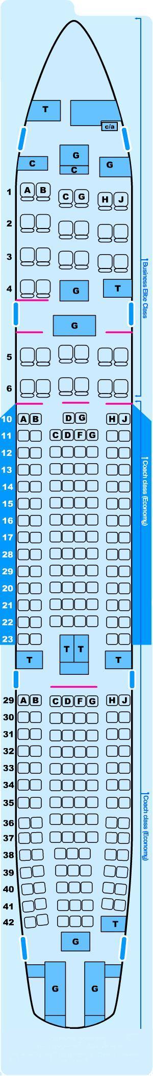 Seat Map Northwest Airlines Airbus A330 200 Seatmaestro Com