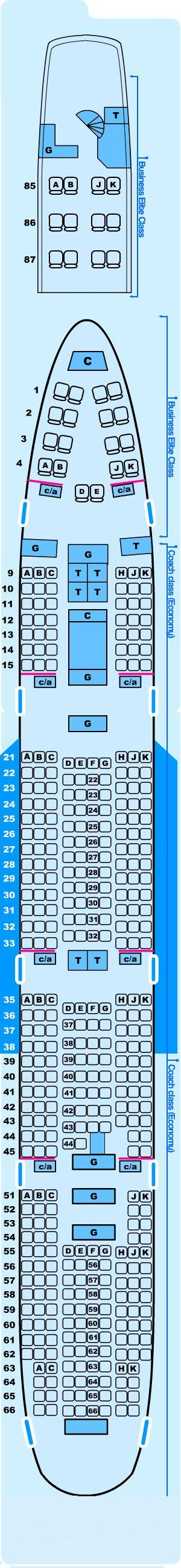 Seat map for Northwest Airlines Boeing B747 200 G Special Charter