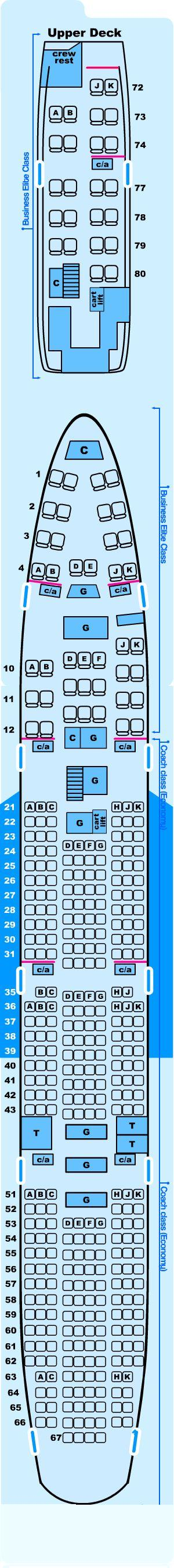 Seat map for Northwest Airlines Boeing B747 400