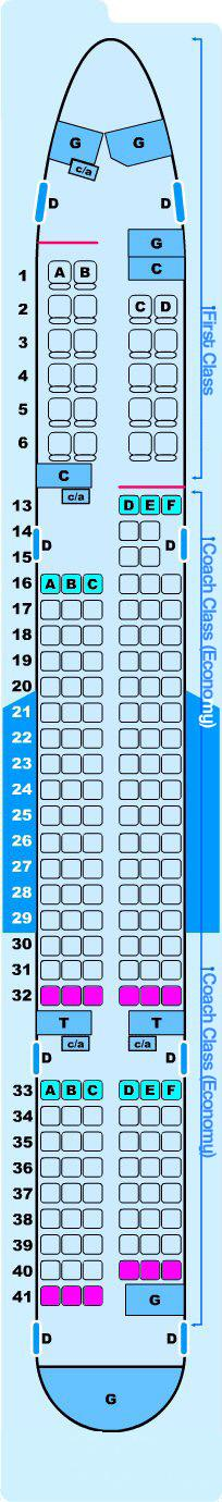 Seat map for Northwest Airlines Boeing B757 200 (5500)