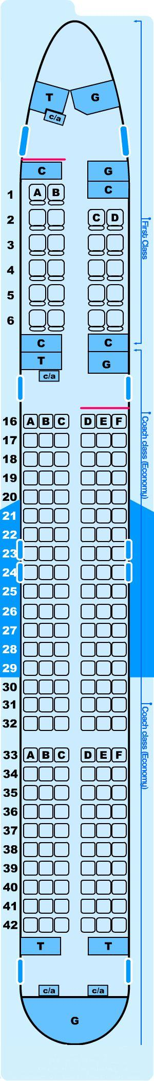 Seat map for Northwest Airlines Boeing B757-200 (5600) Domestic