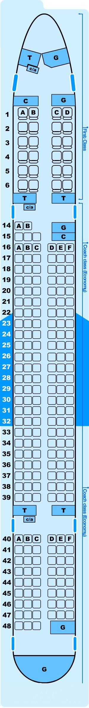 Seat map for Northwest Airlines Boeing B757 300