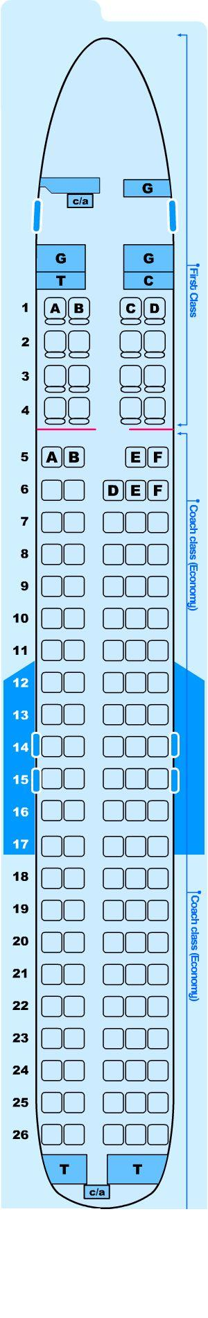 Seat map for Northwest Airlines McDonnell Douglas DC9-50