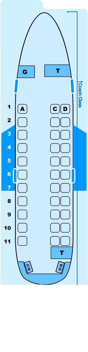 Seat map for Northwest Airlines Airlink Saab 340 SF3/SFC